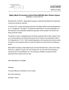Bailey metal processing limited fined 50000 after worker injured