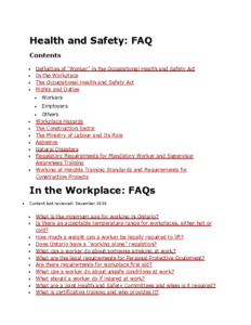 Health and Safety- FAQ