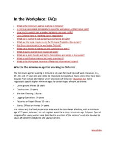 In the Workplace- FAQs
