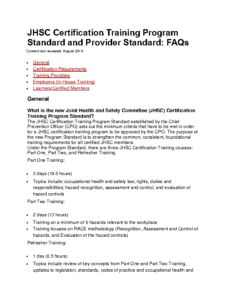 JHSC Certification Training Program Standard and Provider Standard